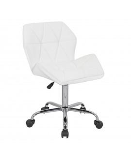 Chaise de bureau en écocuir blanc - L:58 l:53 h:78-98 - BAAKAL AND ROSS