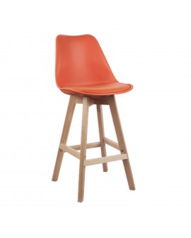 Tabouret en polypropylène et écocuir orange - L:49 l:56 h:103 - BAAKAL AND ROSS