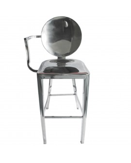 Tabouret de bar en inox gris - L:54 l:56 h:112 - BAAKAL AND ROSS