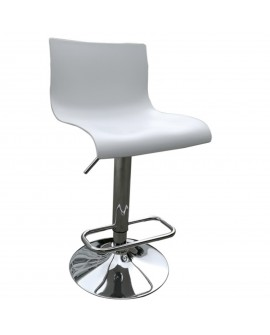 Tabouret en plastique blanc - L:39 l:39 h:82-103 - BAAKAL AND ROSS