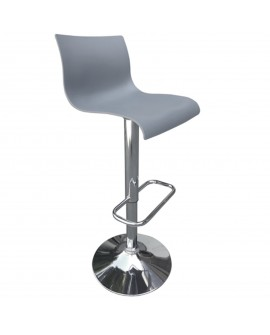 Tabouret en plastique gris - L:39 l:39 h:82-103 - BAAKAL AND ROSS