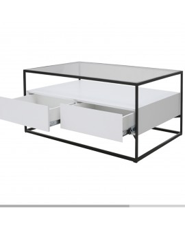 Table basse en mdf blanc - L:120 l:70 h:40 - BAAKAL AND ROSS