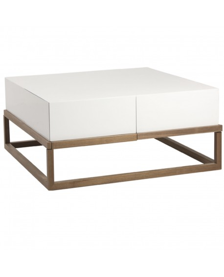 Table Basse Laque Blanc L 100 L 100 H 38 Baakal And Ross