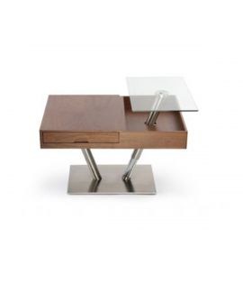 Table basse articulé plaquage noyer - L:88 l:65 h:52-74 - BAAKAL AND ROSS