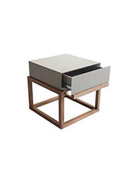 Table de chevet laqué grise - L:39,6 l:39,6 h:40,5 - BAAKAL AND ROSS