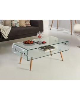 TABL BASSE GLASS II PIED HÊTRE