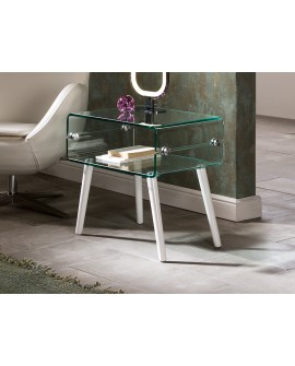 TABLE BASSE GLASS II PIED BLAN