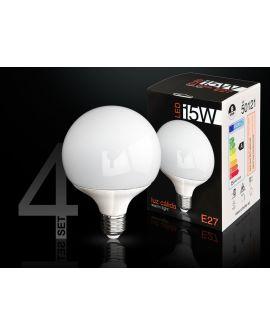 SET 4AMP LED GLOBE3000K 15WE27