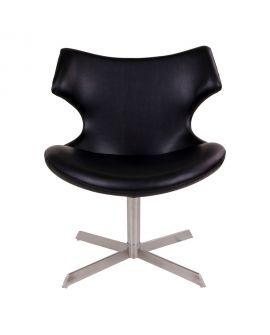 Fauteuil Zampi fauteuil lounge en PU noir avec fonction pivotante
