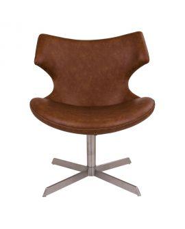 Fauteuil Zampi fauteuil lounge en PU marron avec fonction pivotante