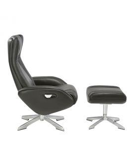 Chaise longue Riga avec repose et pieds en cuir noir