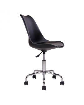 Chaise de bureau Stavanger noire avec pieds chromés