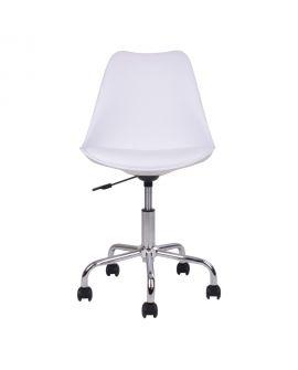 Chaise de bureau Stavanger blanche avec pieds chromés