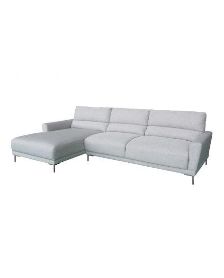 Canapé Ascoli gris clair - angle à gauche 277x165 / 99xH86 cm