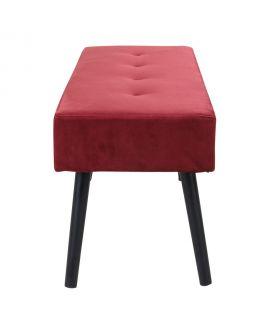 Banc Skiby en velours rouge avec pattes noires