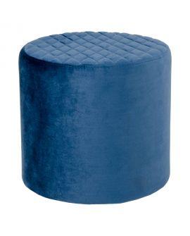Pouf Ejby en velours bleu foncé