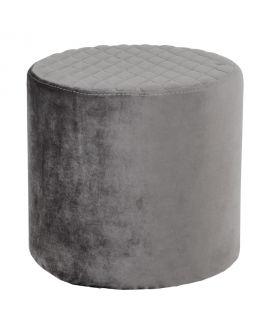 Pouf Ejby rond en velours gris
