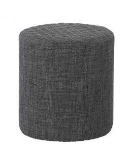 Pouf Ejby rond en tissu gris foncé