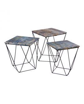 Table d'appoint Ranchi en bois de manguier, fini marbre bleu