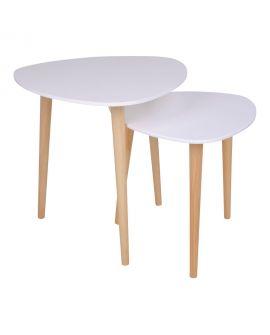 Table d'appoint Genova blanche avec pieds en bois naturel
