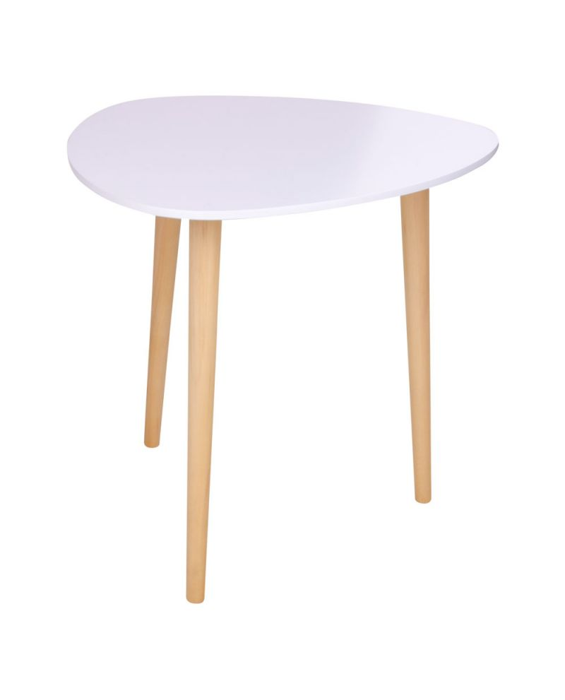 Table Blanche Pied Bois table d'appoint genova blanche avec pieds en bois naturel
