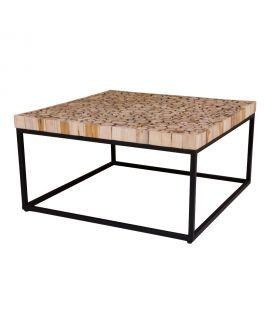 Table Basse Knoxville en bois avec base en métal 80x80 cm