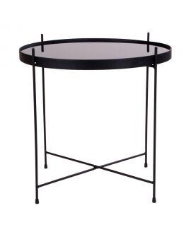 Table basse Venezia en acier enduit de poudre noire avec verre 48xh48cm