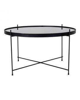 Table basse Venezia en acier enduit de poudre noire avec verre 70xh40cm