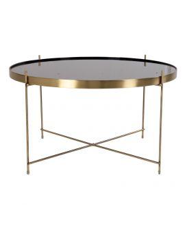 Table basse Venezia en acier de couleur laiton avec verre 70xh40cm