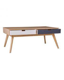 Table Basse Milano en bois naturel avec 4 tiroirs colorés