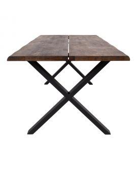Table à manger Toulon en chêne huilé fumé avec bordures ondulé 200x95xh76x4 cm