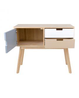 Console Milano en bois naturel avec 2 tiroirs colorés et 1 porte