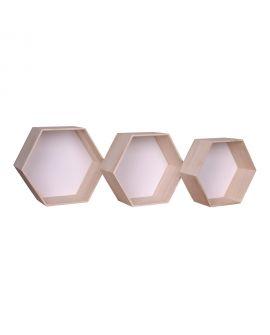 Etagères Garda - 3 étagères en bois naturel et blanc