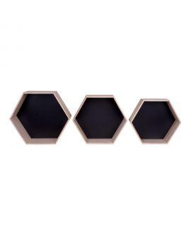 Etagères Garda - 3 étagères en bois naturel et noir