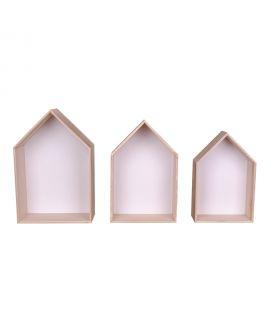 Etagères Verona - 3 étagères en bois naturel et blanc