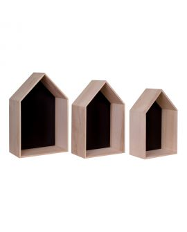 Etagères Verona - 3 étagères en bois naturel et noir