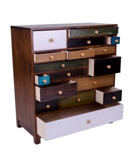 Commode Prato en bois avec 17 tiroirs colorés