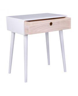 Table de chevet Parme blanche avec 1 tiroir en bois naturel