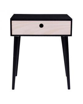 Table de chevet de Parme noir avec 1 tiroir en bois naturel