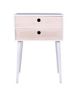 Table de chevet Rimini blanche avec 2 tiroirs en bois naturel