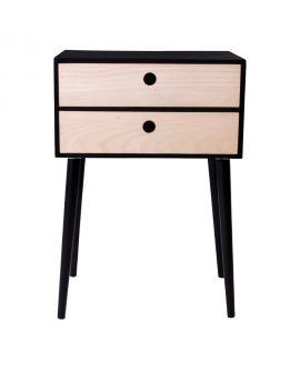 Table de chevet Rimini noir avec 2 tiroirs en bois naturel