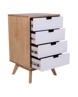 Commode Milano en bois naturel avec 4 tiroirs blancs