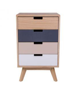 Commode Milano en bois naturel avec 4 tiroirs colorés