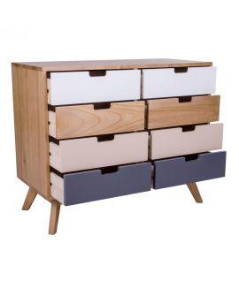 Commode Milano en bois naturel avec 8 tiroirs colorés