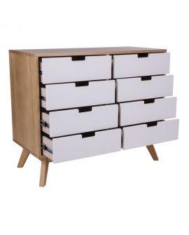 Commode Milano en bois naturel avec 8 tiroirs blancs