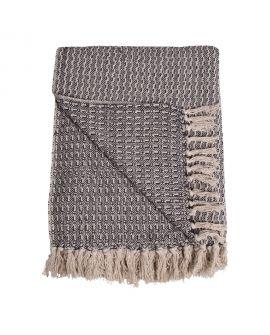 Couverture Cort en coton grise foncé et blanc