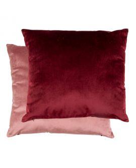 Coussin Braga 2 couleurs en velours rose / bordeaux 45x45cm