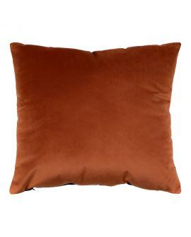 Coussin Braga 2 couleurs en velours bleu / orange 45x45cm