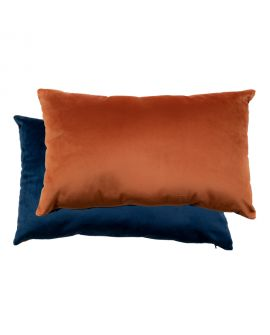 Coussin Chaves bicolore en velours bleu / orange 40x60cm