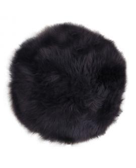 Siège en peau d'agneau - Assise en cuir d'agneau noir Ø35 cm
